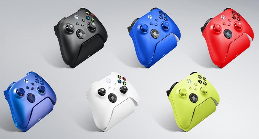 The various colours of the new Razer Universal Quick Charging Stands console accessories for Xbox