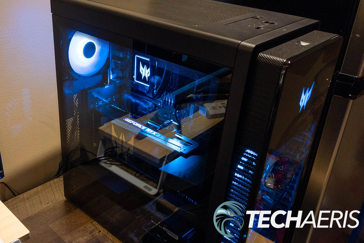 Side view of the Acer Predator Orion 7000 gaming desktop (pre-production unit shown)