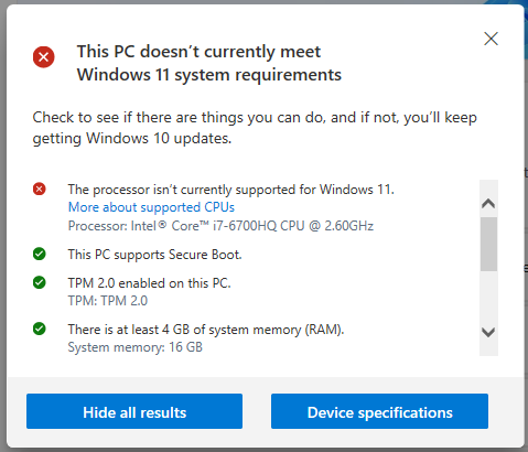 Windows 11 PC Health Checkup app showing unsupported processor