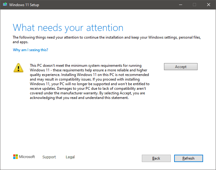 Screenshot from Windows 11 installation warning you that your system does not meet the minimum system requirements for Windows 11