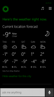 Windows Phone 8.1 Cortana Weather Forcast