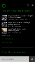 Windows Phone 8.1 Cortana Top Headlines