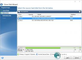 Acronis True Image WD Edition Clone Disk Source select screenshot
