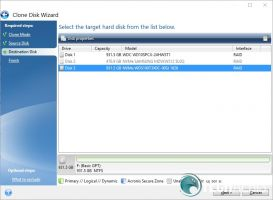 Acronis True Image WD Edition Clone Disk Destination select screenshot