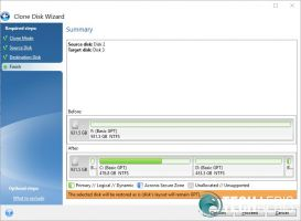 Acronis True Image WD Edition Clone Disk Destination confirmation screenshot
