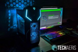 The blue LED lighting on the Acer Predator Orion 5000 makes for great gaming ambience