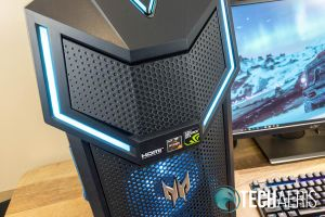 The upper portion of the front of the Acer Predator Orion 5000 which pops open to reveal the DVD drive