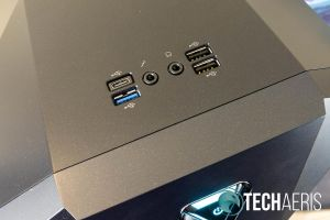 Three USB-A, a USB Type-C, and two headphone ports are located on the top
