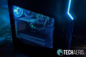 The Acer Predator Orion 5000 side view with blue LED lights shining