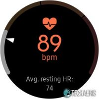 Heart rate monitoring screen on the Samsung Galaxy Watch Active