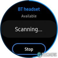 BT headset connection screen on the Samsung Galaxy Watch Active