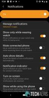 Notifications settings on the Galaxy Wearables app