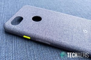 The Google Pixel 3a Fabric Case has a nice bright yellow power button