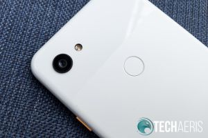 The rear-facing camera and fingerprint scanner on the Google Pixel 3a XL
