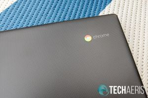 The ChromeOS logo on the Lenovo Chromebook S330