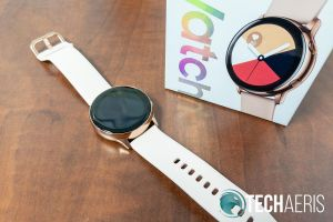 The Samsung Galaxy Watch Active in Rose Gold