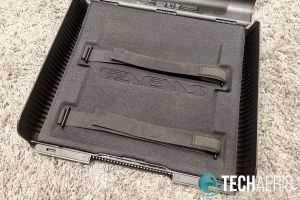 The foam base pad and straps inside the GAEMS Sentinel Pro
