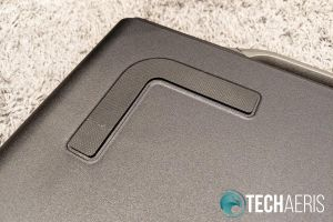 One of four rubberized grips on the bottom of the GAEMS Sentinel Pro