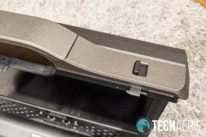 Close up of latch on the top of the GAEMS Sentinel Pro