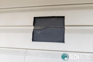 For my installation, I cut a square hole in my siding