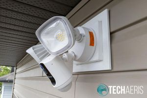 Side view of installed Swann Floodlight Security System