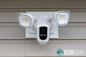 Front view of installed Swann Floodlight Security System