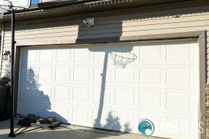 Swann Floodlight Security System installed above garage door