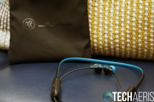 JLab Play Gaming Earbuds Next to Pouch