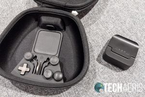 The included carrying/charging case with charging brick removed