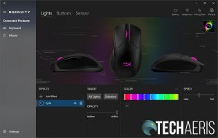 HyperX NGENUITY software Pulsefire Dart lights settings screen