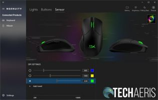 HyperX NGENUITY software Pulsefire Dart sensors settings screen