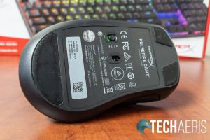 The bottom of the HyperX Pulsefire Dart wireless gaming mouse