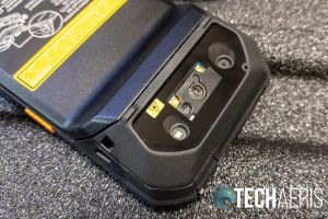 Detail of the rear camera and barcode scanner on the back of the Panasonic Toughbook N1 smartphone