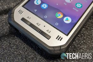 The programmable front buttons on the Panasonic Toughbook N1 smartphone