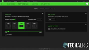 The performance customization screen for the Razer DeathAdder V2 in the Razer Synapse 3 application